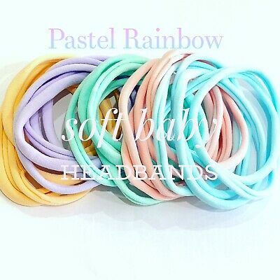 25 Pieces Pastel Rainbow mix - Soft Thin Nylon Headbands Elastic One Size