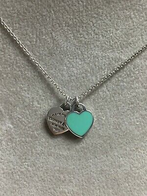 269364e2d Return To Tiffany Sterling Silver Blue Enamel Double Heart Tag Necklace