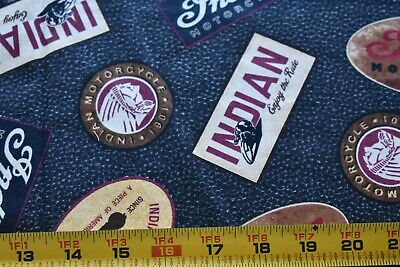 """23"""" Long, Indian Motorcycle Logos on Black Quilt Fabric/Quilting Treasures N4561"""
