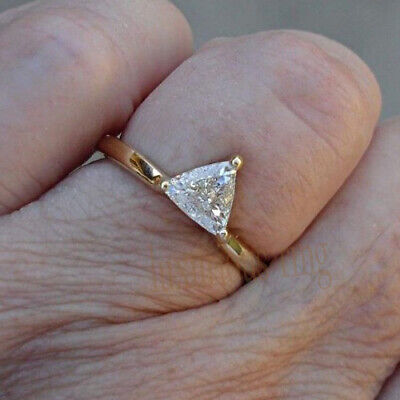 Trillion Cut 1.18 Ct Near White Moissanite Engagement Ring 14k Solid Yellow Gold