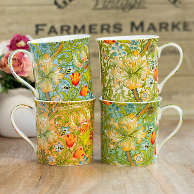 Set of 4 William Morris Golden Lily Floral 275ml Fine China Mugs Cups Tea Coffee