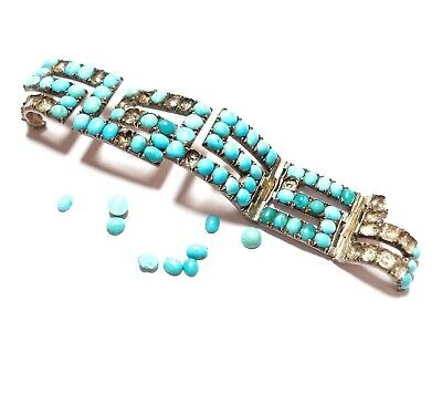 Beautiful Antique Damaged Silver Bracelet With Turquoise Stones For Re-Use