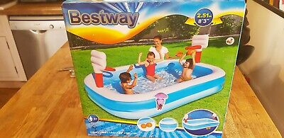 Bestway 99 inch Childrens Kids Inflatable Play Paddling Pool Basketball ends