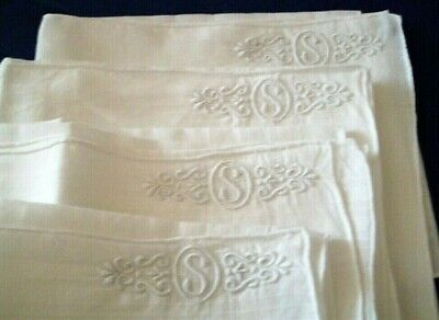Four Vintage Linen Men's Handkerchiefs With Monogram