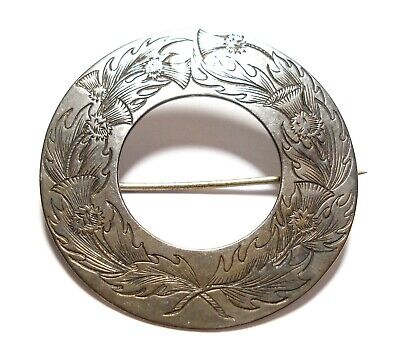 Beautiful Antique Large Victorian Scottish Silver Thistle Brooch Pin 1842