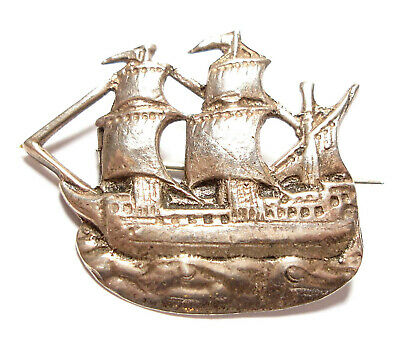 Beautiful Vintage Or Antique Silver Mayflower Brooch Pin Chester Hallmark