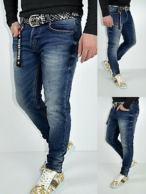 Herren Basic Style Young Skinny Blue Stonedwashed Skinny Fit Jeans Hose