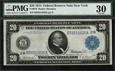 1914 $20 Federal Reserve Note - New York FR-970 - PMG 30 Very Fine