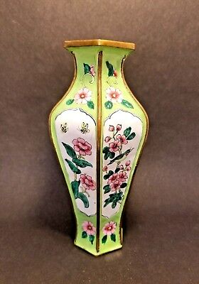 Antique Rare Chinese Green & White Enamel Copper Vase Six Sided  7""