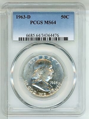 1963-D MS64 50C Franklin Half Dollar PCGS Certified Uncirculated Denver LE525