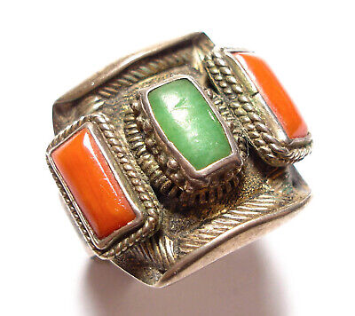 Beautiful Vintage Or Antique Silver Tibetan , Coral & Green Stone Ring Af