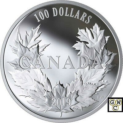 2019 'Canadian Maples' Proof $100 Silver Coin 10oz .9999 Fine (18717) (NT)