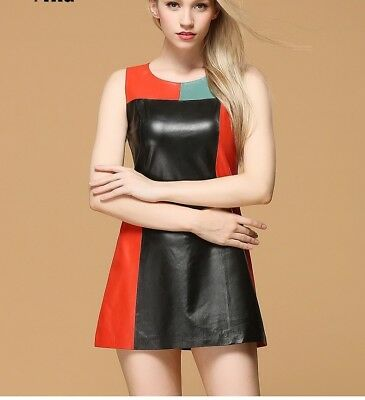 d91ceae011d10 Women Genuine Real Lambskin Leather Dress Plus-Size Custom Made For  Valentines