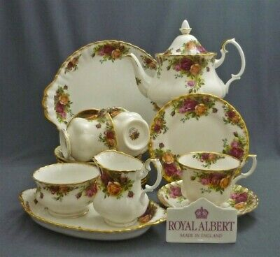 17 Piece Royal Albert Old Country Roses Bone China England Tea Set Service For 4