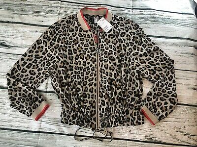 8a7b55056483 NWT H&M Divided Leopard Womens Hoodie Jacket Sweater Long Sleeve Size 8