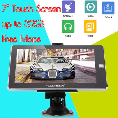 "FLOUREON 7"" Touch Screen Truck&Car GPS Navigatore MP3 MP4 LCD SAT NAV Mapa 8GB"