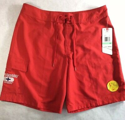 ef42ea263ab1 Speedo Mens Red LIFEGUARD Drawstring Cargo Swim Trunks Sz 34 Board Short  NWT  44