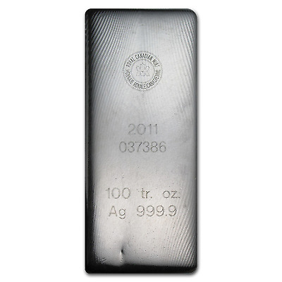 100 oz Silver Bar - RCM (2011/.9999 Fine) - SKU #76055