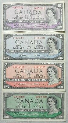 Lot of 4 AU to UNC Canadian 1954 Bills Notes One Two Five & Ten Dollar $1 2 5 10