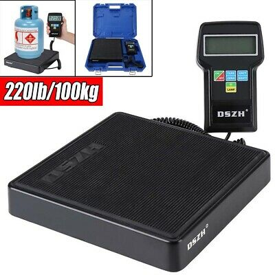 100kg Electronic Refrigerant Charging Digital Weight Scale + Case 6FT Coil Cable