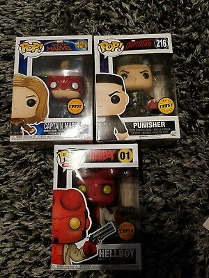 Funko Pop 425 Captain Marvel / Pop 216 The Punisher/ Pop 01 Hellboy   CHASE