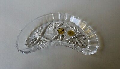 Vintage Czech Belfor Handcut Lead Crystal Pinwheel Candy / Pin Dish w/ Labels