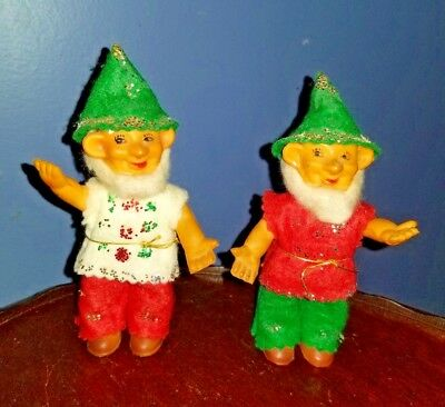 """Vintage Christmas Dwarfs Elves Plastic with Moveable Arms 5.5"""" Japan Lot of 2"""