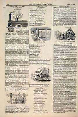 Original Old Antique Print Tracks Trains Smith Railway Charade Telegraph 1846