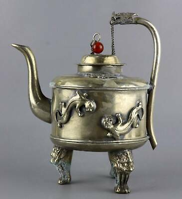 Collect Old Tibet Silver Carve Myth Dragon Delicate Royal Family Noble Wine Pot