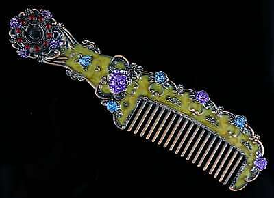 Collectable China Cloisonne Hand Carve Blooming Flower Delicate Noble Girl Comb