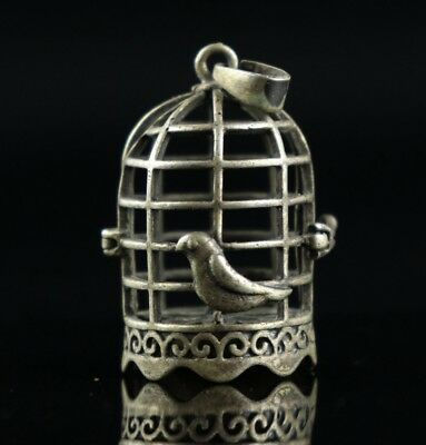 Collect Old Tibet Silver Carved Birdie & Birdcage Unique Delicate Decor Pendant