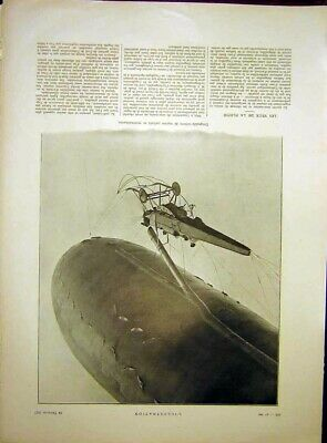 Original Old Vintage Print Balloon Flying Dirigeable-Vedette French 1917 20th