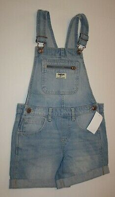 New OshKosh Girls Denim Blue Jean Overalls Classic Bibs 6X year Shorts Vestbak