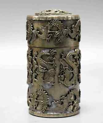 Collect Tibet Silver Carved Myth Dragon & Phenix Auspicious Noble Toothpick Box