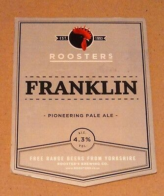 ROOSTERS brewery FRANKLIN cask ale beer pumpclip badge front pump clip Yorkshire