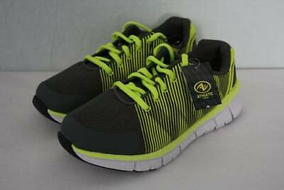 NEW Youth Boys Tennis Shoes Size 3 Gray Yellow Athletic Sneakers Gym Lightweight
