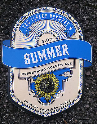 Beer pump badge clip ILKLEY brewery SUMMER pumpclip front cask ale Yorkshire
