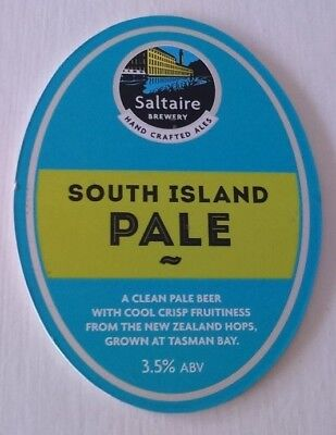 SALTAIRE brewery SOUTH ISLAND PALE cask beer ale pump clip front badge Yorkshire