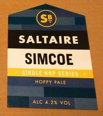 SALTAIRE brewery SIMCOE cask ale beer badge front pump clip Yorkshire