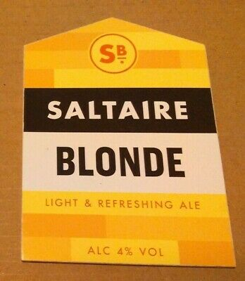 SALTAIRE brewery BLONDE cask ale beer badge front pump clip Yorkshire