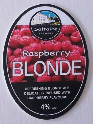 SALTAIRE brewery RASPBERRY BLONDE cask beer ale pump clip front badge Yorkshire