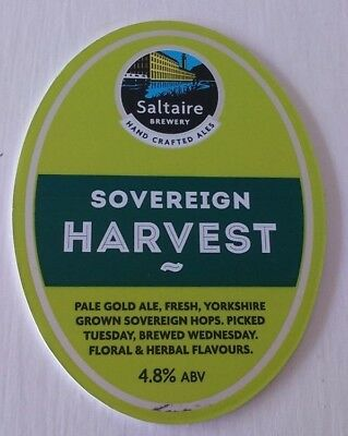 SALTAIRE brewery SOVEREIGN HARVEST cask beer ale pump clip front badge Yorkshire