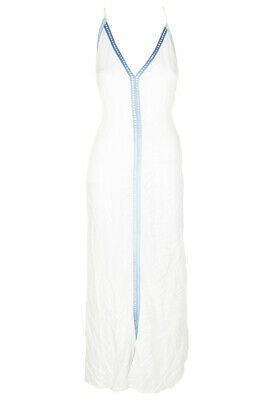 6f58a896ce Raviya White Sleeveless Multi-Colored Trim Maxi Dress Cover-Up M MSRP:$54