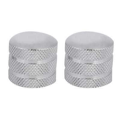 2Pcs 6mm Metal Electric Guitar Bass Tunning Knobs Dome Tone Knob for Tele Silver