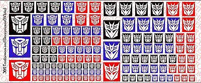 Decals Waterslide Decals Various Sizes Transformer and Decepticons logos