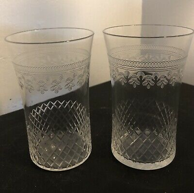 2 X Antique Victorian 19th c cut glass etched drinking glasses (pall Mall)