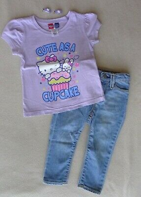 863e4a955 HELLO KITTY GIRL'S Pants Top Size 2T Toddler Black Pink Tutu ...