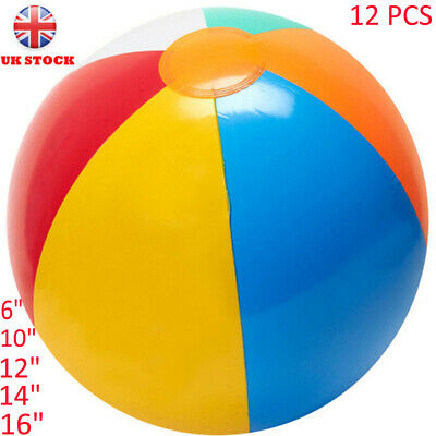 "Inflatable Blowup Panel Beach Ball 6""10""12""14""16""holiday Swimming Pool Party Toy"