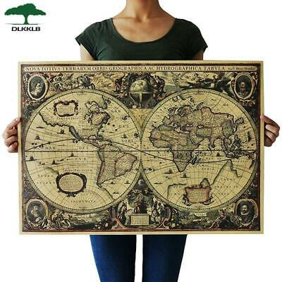 DLKKLB Retro World Map Nautical Ocean Map Vintage Kraft Paper Poster Wall Chart