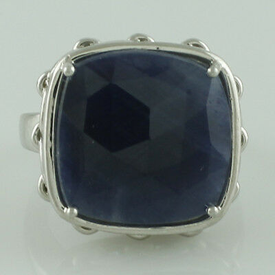 Natural Indian Sapphire 12.70 Ct. Ring 925 Sterling Silver Engagement Jewelry